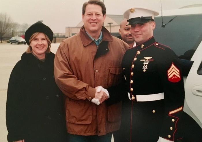 EAPS Assistant Professor Brent Minchew (right) with former Vice President Al Gore in 2001.  Photo courtesy of Brent Minchew