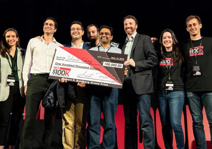 The grand prize winner at this year's MIT $100K Entrepreneurship Competition was Infinite Cooling, which is developing a system that captures and recycles vaporized water from thermoelectric power plants. Pictured here are the four Infinit...