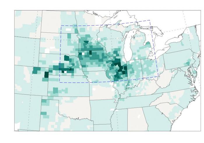 Maps depict the close correlation of crop production, rainfall and temperature in the U.S. Midwest in the last half of the 20th century. In this map, the number of bushels of corn produced are shown in shades of green. Courtesy of researchers