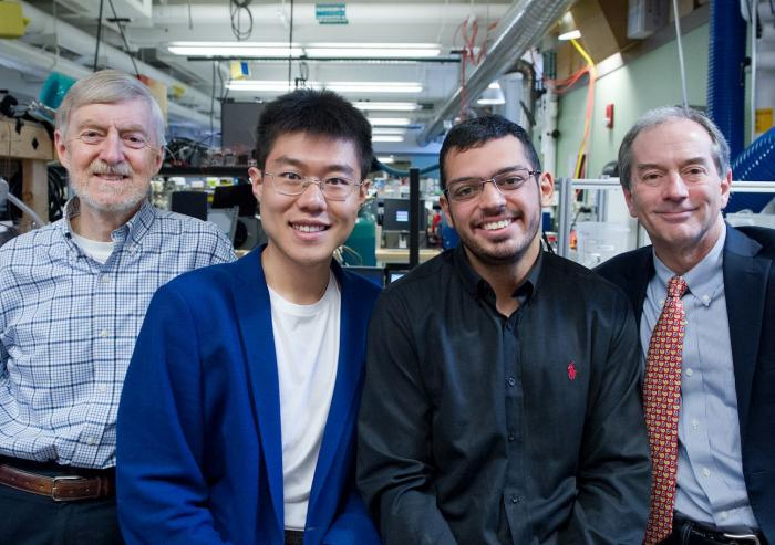 An MIT team performing fundamental studies of systems for cooling and dehumidifying indoor spaces includes (l-r): Professor Leslie Norford, graduate students Tianyi Chen and Omar Labban, and Professor John Lienhard. Chen and Labban began the wor...