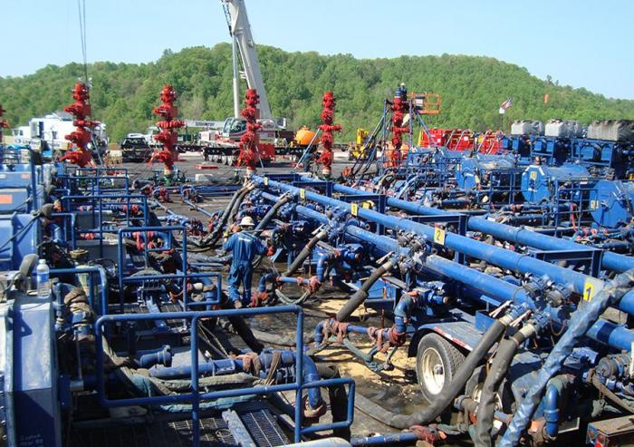 Hydraulic fracturing is an industrial process in which a mixture of water, sand, and chemicals is injected into a well at rates of up to 4,000 gallons per minute, at pressures up to 10,000 pounds per square inch.Photo: Robert L. Kleinberg