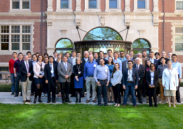 Participants in the Metals and Minerals for the Environment initiative's first public symposium on May 11 and 12 at MIT gathered for a group shot outside Fariborz Maseeh Hall. Photo: Davide Ciceri