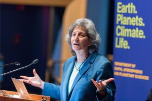 """Science is never sufficient to solve an environmental problem but it's always, always necessary,"" Susan Solomon said at the 7th annual John Carlson Lecture at the New England Aquarium.Photo: Vicki McKenna"