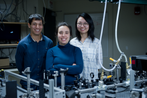 Professor Gabriela S. Schlau-Cohen (center) and graduate students Raymundo Moya (left) and Wei Jia Chen worked with collaborators at the University of Verona, Italy, to develop a new understanding of the mechanisms by which plants reject exces...