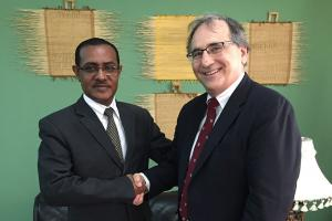 Joint Program on the Science and Policy of Global Change Research Scientist Kenneth Strzepek meets with Ethiopian Minister of Agriculture Tefera Deribew.Photo: Brent Boehlert