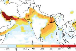 A new study shows that without significant reductions in carbon emissions, deadly heat waves could begin within as little as a few decades to strike regions of India, Pakistan, and Bangladesh. This map shows the maximum wet-bulb temperatures (whic...