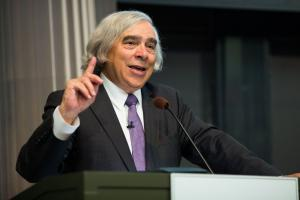 "Professor Ernest Moniz speaks at the 2017 Karl Taylor Compton Lecture, titled ""Reducing Global Threats: Climate Change and Nuclear Security."" Photo: Jake Belcher"