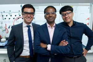 Assistant Professor Karthish Manthiram (center), postdoc Kyoungsuk Jin (right), graduate student Joseph Maalouf (left), and their colleagues are working to help decarbonize the chemical industry by finding ways to drive critical chemical reaction...