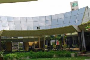 Solar panels cover the roof of the CII-Godrej Green Business Center in Hyderabad, India.Photo courtesy of the Natural Resources Defense Council