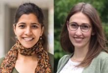 Krithika Ramchander (left), a PhD candidate in the Department of Mechanical Engineering, and Andrea Karin Beck, a PhD candidate in the Department of Urban Studies and Planning, have each received fellowships from MIT's Abdul Latif Jameel Worl...
