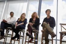 Panelists discuss projects that use MIT as a test bed: (l-r) Associate Professor Kripa Varanasi; Institute for Data, Systems, and Society PhD Student Rachel Perlman; Office of Development, Health and Safety Associate Director Pamela Greenley; an...