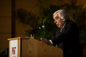 Ernest Moniz, former U.S. Secretary of Energy and founding director of the MIT Energy Initiative, introduced the fourth MIT symposium on climate change.Photo: Jake Belcher