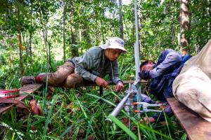 Researchers conduct carbon monitoring in a peat swamp forest in Central Kalimantan, Indonesia in 2017.               Photo: Sigit Deni Sasmito/CIFOR