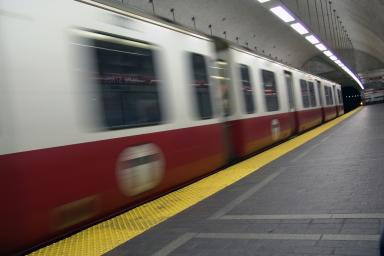 T Subway train in motion
